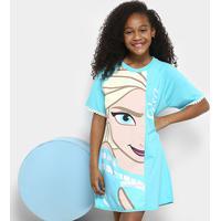 Camisola Infantil Lupo Estampada Frozen Elsa Feminina - Feminino-Azul Piscina
