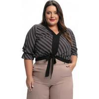 Blusa Plus Size Listras Cinzas Com Amarração