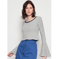 Blusa Listrada- Branca & Azul Marinhoeva