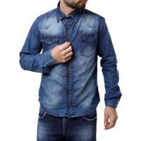 8b424182bb Camisa Jeans Manga Longa Masculina Azul