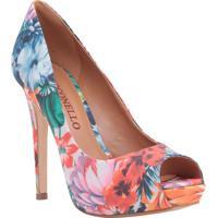 Peep Toe Floral- Azul & Laranja- Salto: 12Cmcecconello