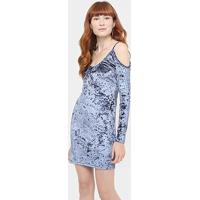 Vestido Pacific Blue Veludo Recorte Ombro A Ombro - Feminino-Azul