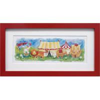 Quadro Montado Com Vidro Infantil Circo Ii 15X30Cm Vermelho