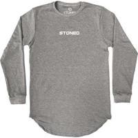 Camiseta Longline Stoned Manga Longa Pump Masculina - Masculino-Cinza