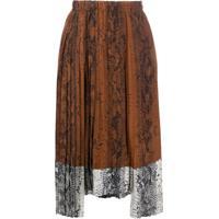 Nº21 Snakeskin Print Silk Pleated Skirt - Marrom