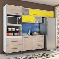 Cozinha Completa Canela 8 Pt 5 Gv Branco E Amarelo