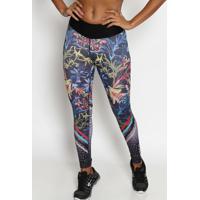 Legging Em Cirrãª- Preta & Azulphysical Fitness