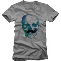 Camiseta Caveira Bigode Reserva Masculina - Masculino-Cinza