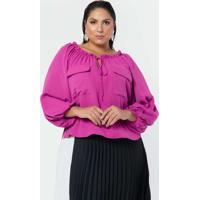 Blusa Almaria Plus Size Pianeta Ombro A Ombro Crep