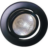 Spot Dicróica Dirigível Aço Com Pintura Eletrostática Mr16 50W 220V Preto