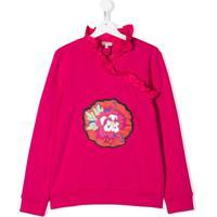Kenzo Kids Suéter Flower Com Babados - Rosa