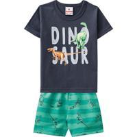 Conjunto Camiseta E Shorts Dinossauro Para Bebe 41187 Brandili