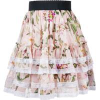 Dolce & Gabbana Saia Plissada Com Acabamento De Renda Floral - Rosa