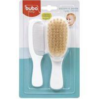 Pente E Escova Bebe Branco Cerdas Naturais 08243 Buba