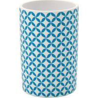 Porta Escova De Dente Para Bancada Branco Geo Blue Coisas E Coisinhas