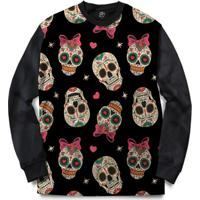 Blusa Bsc Love Skull Full Print - Masculino-Preto
