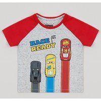 Camiseta Infantil Carros Raglan Manga Curta Cinza Mescla