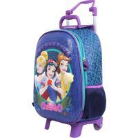 Mochila De Rodinhas Princesas Disney 3D Paetê   Cor: Azul