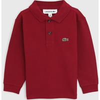 Camisa Polo Lacoste Kids Infantil Logo Vinho - Vinho - Menino - Algodã£O - Dafiti