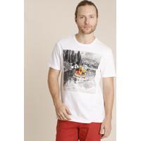 Camiseta Masculina Turma Do Mickey Manga Curta Gola Careca Branca