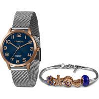 Kit Relógio Analógico Lince Feminino + Pulceira De Pingentes -Lrt4652L Kx66D2Sx Prateado