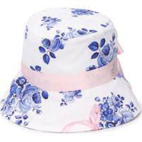 Monnalisa Chapéu Com Estampa Floral E Logo - Branco