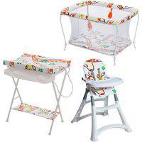 Conjunto Cadeira Alta, Banheira Com Trocador E Cercado - Girafas - Galzerano