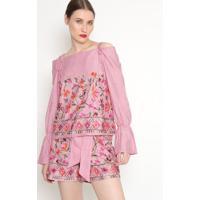 Blusa Listrada Com Bordado - Rosa & Branca - Ahaaha