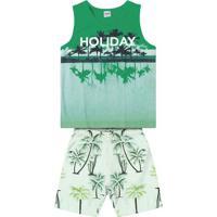 """Conjunto De Regata """"Holiday"""" + Bermuda- Verde & Branco"""