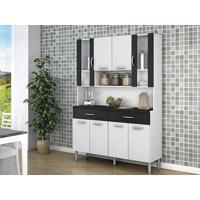 Cozinha 8 Portas Golden Linho Branco/Preto - Lc Móveis