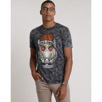 Camiseta Masculina Peter Quill Guardiões Da Galáxia Marmorizada Manga Curta Gola Careca Preta