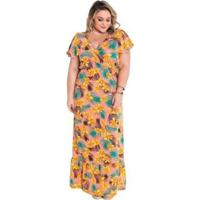 Vestido Plus Size Marguerite Transpassado Babado Feminino - Feminino-Amarelo