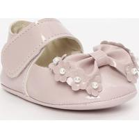 Sapato Boneca Envernizado Com Pérolas & Laço - Nude & Brtico Baby