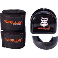 Bandagem Elástica + Protetor Bucal - Muay-Thai Boxe - Gorilla - Unissex