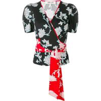 Diane Von Furstenberg Floral Print Wrap Blouse - Preto