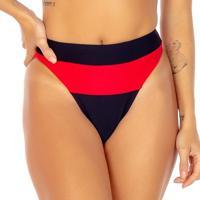 Calcinha Hot Pant Com Recorte- Preta & Vermelha- Fleuse Flee