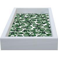 Bandeja Folha Coraã§Ã£O De Leã£O- Branca & Verde- 30X15Kapos