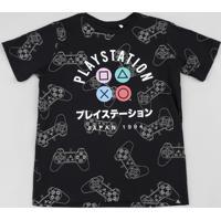 Camiseta Juvenil Playstation Manga Curta Preta
