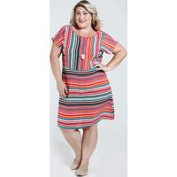 18aabe3b4 ... Vestido Feminino Listrado Plus Size Marisa