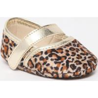 Sapato Boneca Onã§A Com Velcro- Dourado & Marrom- Tictico Baby