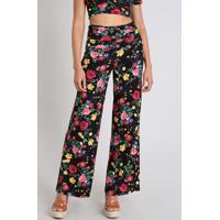 Calça Feminina Pantalona Estampada Floral Cós Largo Preta