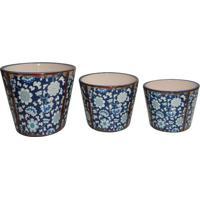 Jogo De Cachepots Florais- Azul Escuro & Branco- 3Pçbtc Decor