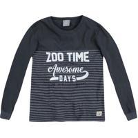 "Camiseta ""Zoo Time""- Cinza Escuro & Branca- Kidshering"