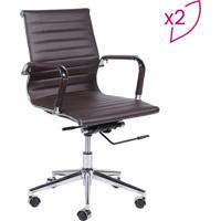 Jogo De Cadeiras Office Eames Esteirinha- Café- 2Pçsor Design