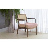 Poltrona De Madeira E Palhinha Decorativa Lavanda - Aço Preto Verniz Capuccino Tec.169 Rosa 63,5X64X78 Cm