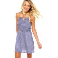 Vestido Modaris Curto Geométrico Branco/Azul