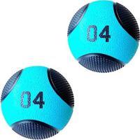 Kit 2 Medicine Ball Liveup Pro B 4 Kg Bola De Peso Treino Funcional - Unissex