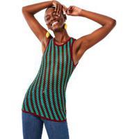 Regata Ponto Crochet Com Franjas Verde Bonfim/ Marrom Cravo