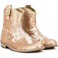 Monnalisa Sequinned Cowboy Boots - Dourado