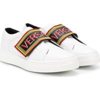 Young Versace Tênis Cano Baixo Com Logo - Branco